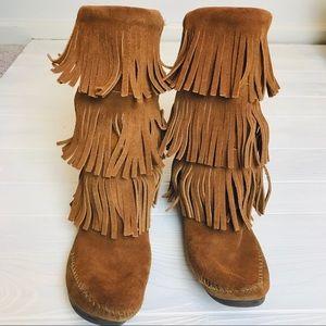Minnetonka Leather Fringe Boots
